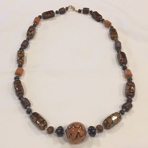 Glass bead necklace. 16 inch drop